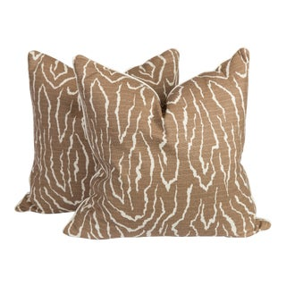 Faux-Bois Linen Pillows - a Pair