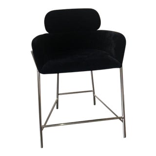 CB2 Azalea Black Faux Mohair Counter Stool For Sale