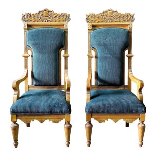 Palatial Cerused Oak Throne Chairs - A Pair
