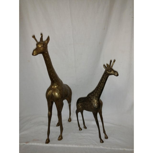 22 Inch 1960's Mid Century Brass Giraffe and Baby - a Pair For Sale - Image 10 of 10