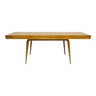 Edmond J Spence Blonde Sculptural Streamlined Mid-Century Modern Extension Dining Table For Sale