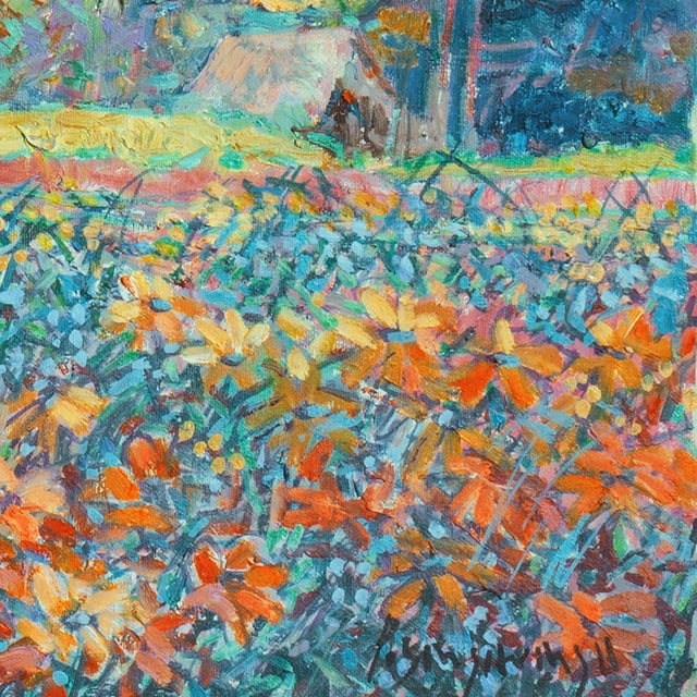 Cottage Impressionist Landscape Oil Painting For Sale - Image 3 of 4