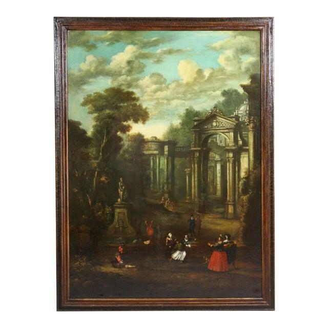 Flemish Oil on Canvas Capriccio by John Miel For Sale