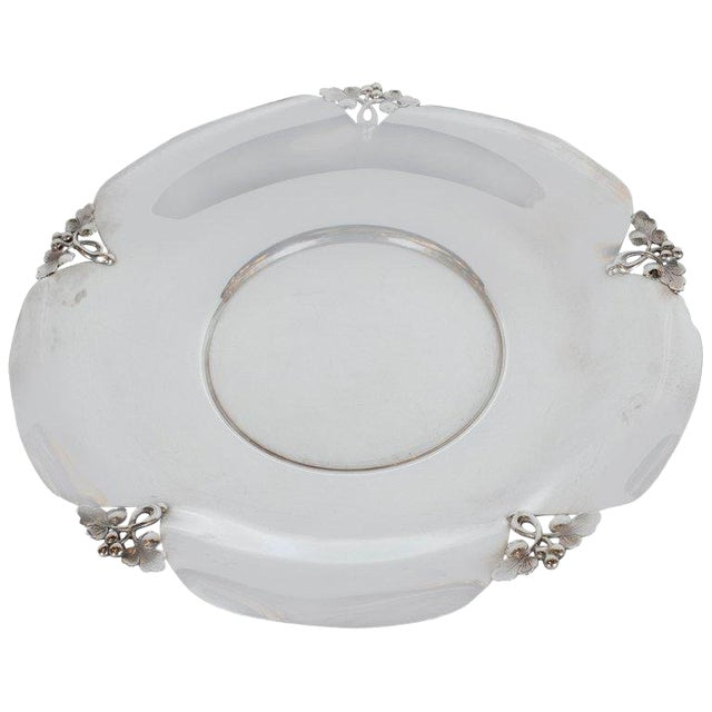 Mid-Century Sterling Silver Decorative Dish With Foliate Tray by j.e. Caldwell Co For Sale