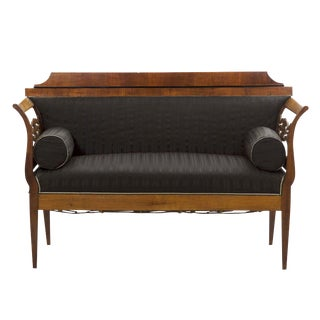 Biedermeier Black Upholstered Antique Sofa Settee, 19th Century For Sale