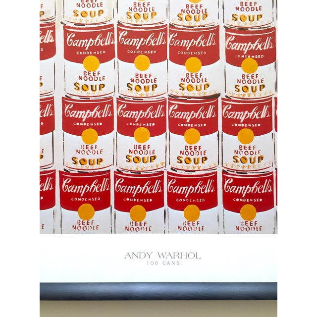 """Black Andy Warhol Rare Vintage 1978 Iconic Lithograph Print Framed Collector's Pop Art Poster """" 100 Cans """" 1962 For Sale - Image 8 of 13"""