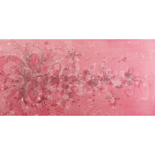 """Aurora Robson """"Flabbergaster"""" Pink, White Acrylic and Mica Powder Painting on Wood Panel, 2010 For Sale"""
