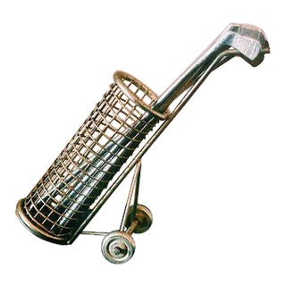 Vintage Gold Golf Caddy & Clubs Cocktail Stirrer Set For Sale