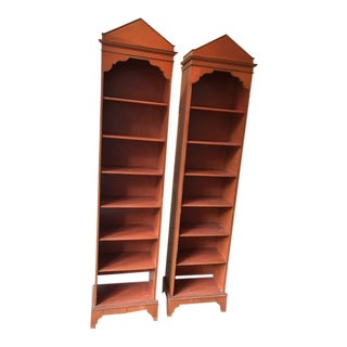 1950s Mediterranean Terracotta Painted Bookcases - a Pair For Sale