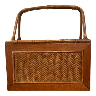 Vintage Bamboo and Woven Rattan Desk Organizer Magazine Rack For Sale
