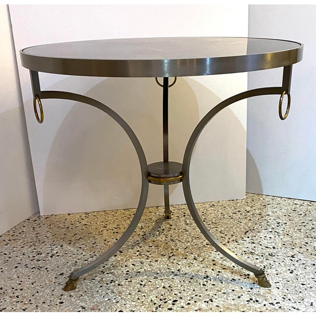 Mid 20th Century Mid-Century Maison Jansen Attributed Louis XVI Style Gueridon Side Table in Steel, Brass and Verdigreen Marble For Sale - Image 5 of 13