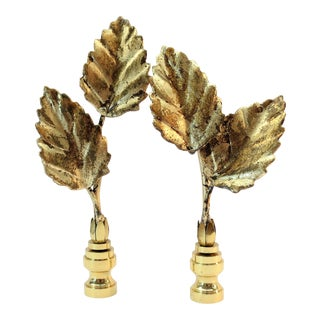 Vintage Italian Double Tole Leaf Finials by C. Damien Fox, a Pair. For Sale