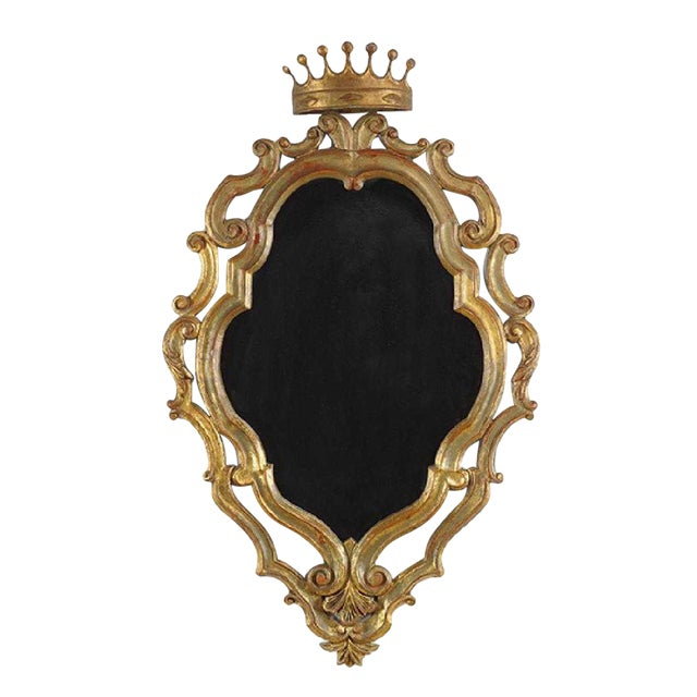 19th Century Italian Gilded Palladio Mirror With a Crown For Sale