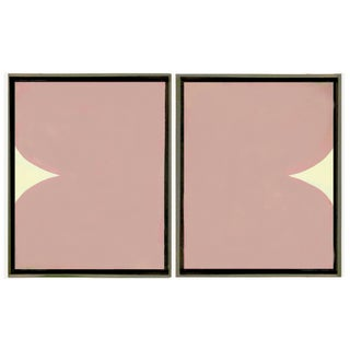 Framed Original Blush Abstract Paintings - Set of 2 For Sale