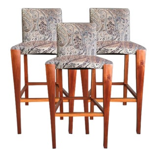 Modern Dakota Jackson Upholstered Bar Chairs- Set of 3 For Sale