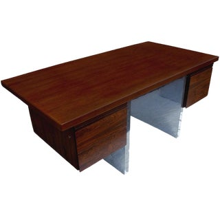 Dunbar Roger Sprunger Rosewood and Stainless Steel Desk For Sale