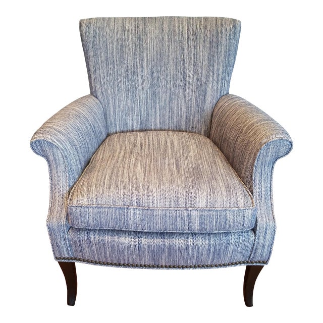 Tight Back Arm Chair in Blue & Grey Fabric - Image 1 of 7