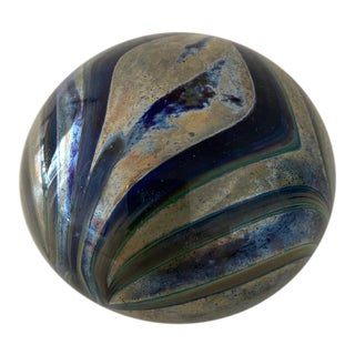 Vintage Iridescent Cobalt Blue and Gold Pulled Feather Paperweight For Sale