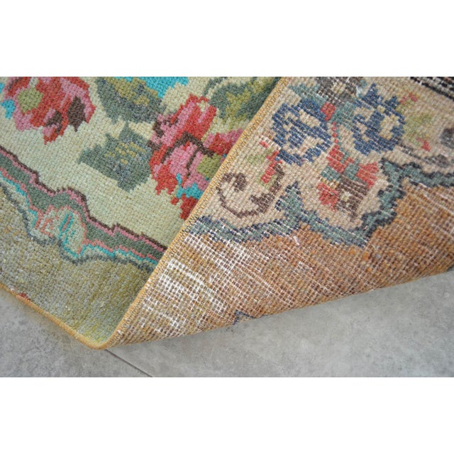"""Low Pile Small Oushak Rug Yastik - 16"""" X 34"""" For Sale In Raleigh - Image 6 of 6"""
