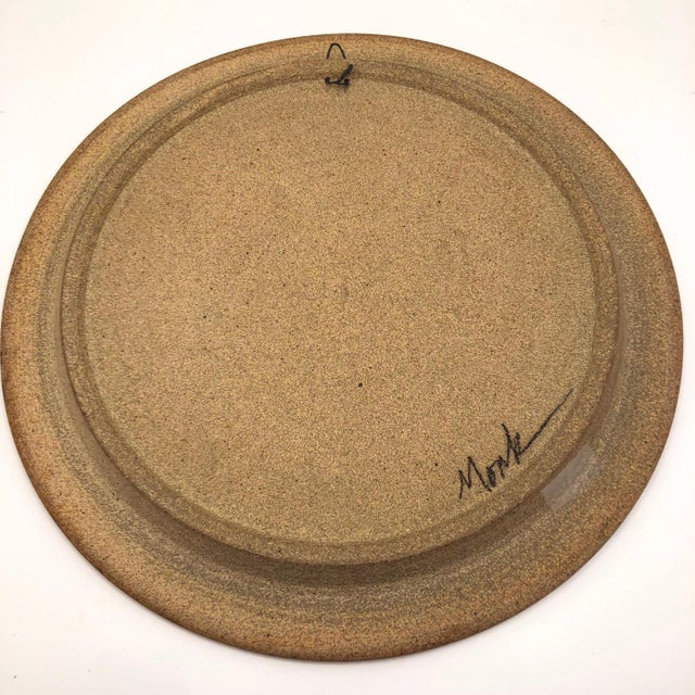 Late 20th Century Vintage Abstract Hand-Painted Decorative Ceramic Platter For Sale - Image 9 of 10