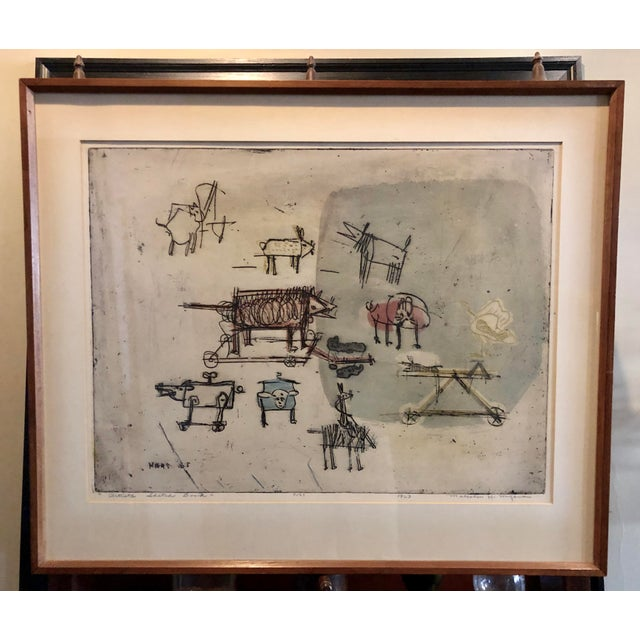 """1963 """"Artists Sketch Book"""" 7/25 Original Itaglio by Malcolm H. Myers, Framed For Sale - Image 13 of 13"""