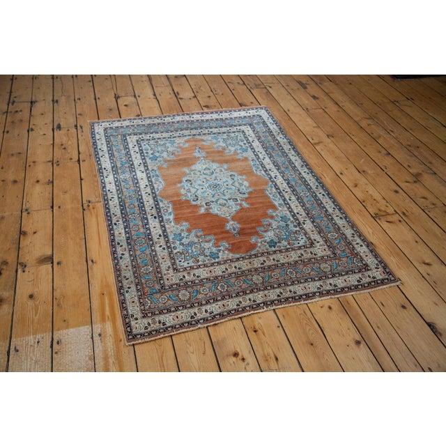 :: Fine antique Tabriz area rug. Gorgeous rust orange field with wonderful soft saffron and aqua blue highlights...