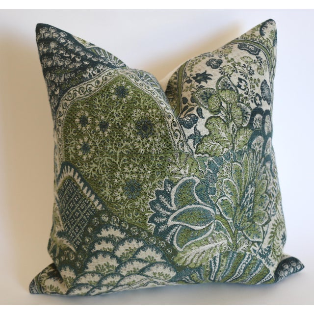 Robert Allen Tapestry Pillow Cover in Green & Blue: 16x16 For Sale - Image 4 of 4