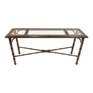 Vintage Faux Bamboo Campaign Style Console For Sale