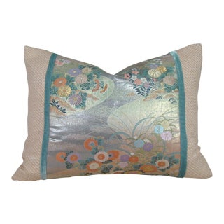 Vintage Japanese Obi Lumbar Pillow Cover For Sale