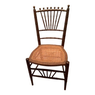 Antique Chinese Chippendale Faux Bamboo Chair For Sale