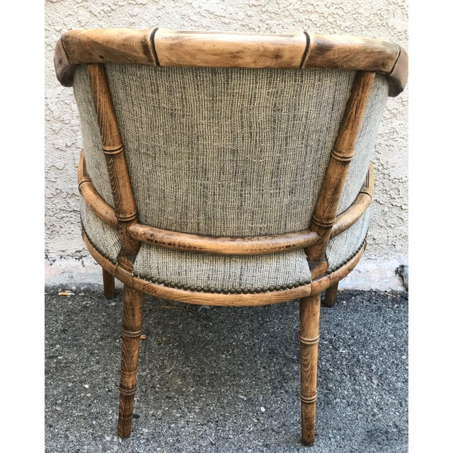 Asian Vintage Elm Carved Bamboo Style Linen Upholstered Chairs - a Pair For Sale - Image 3 of 11