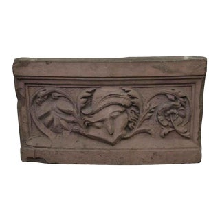 Red Terra Cotta Floral Stone For Sale