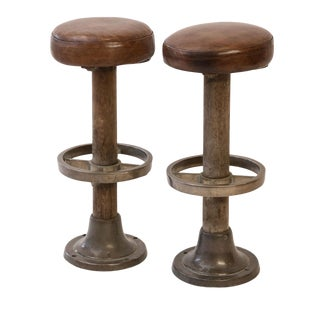 Pair of Leather-Covered Barstools For Sale
