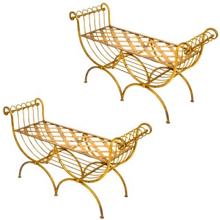 1960s Vintage Gilt Iron Italian Benches- a Pair For Sale