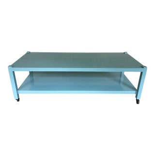 Rolling Tiffany Blue Enamel Coffee Table For Sale