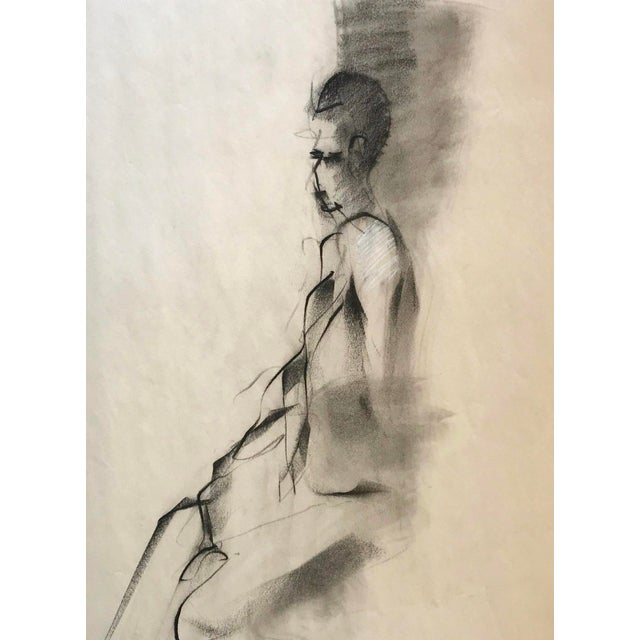 Contemporary Vintage Figurative Charcoal Drawing For Sale - Image 3 of 3