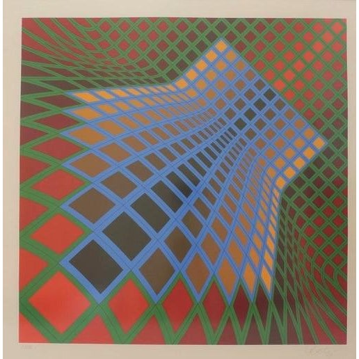 Victor Vasarely Vintage Vasarely Pencil Signed and Numbered Limited Edition 67/250 Op Art Original Print Custom Framed For Sale - Image 4 of 11