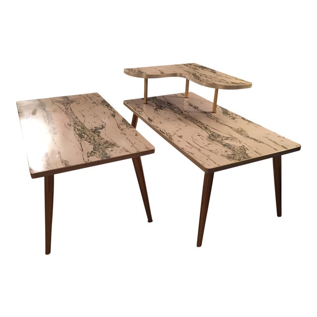 Mid-Century Formica Marble End Tables - A Pair - Image 1 of 10