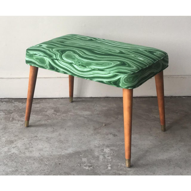 Fabric Mid-Century Modern Malachite Green Upholstered Stool For Sale - Image 7 of 9