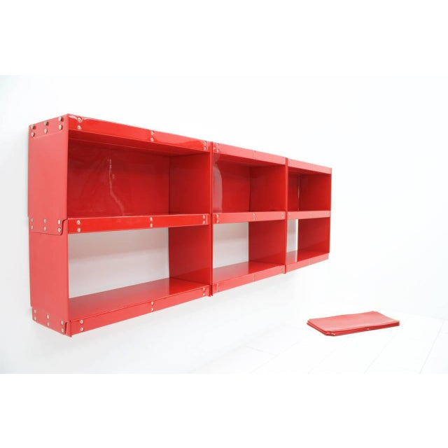 Rare Otto Zapf Red Plastic Shelf System, Germany 1971 InDesign For Sale - Image 6 of 9