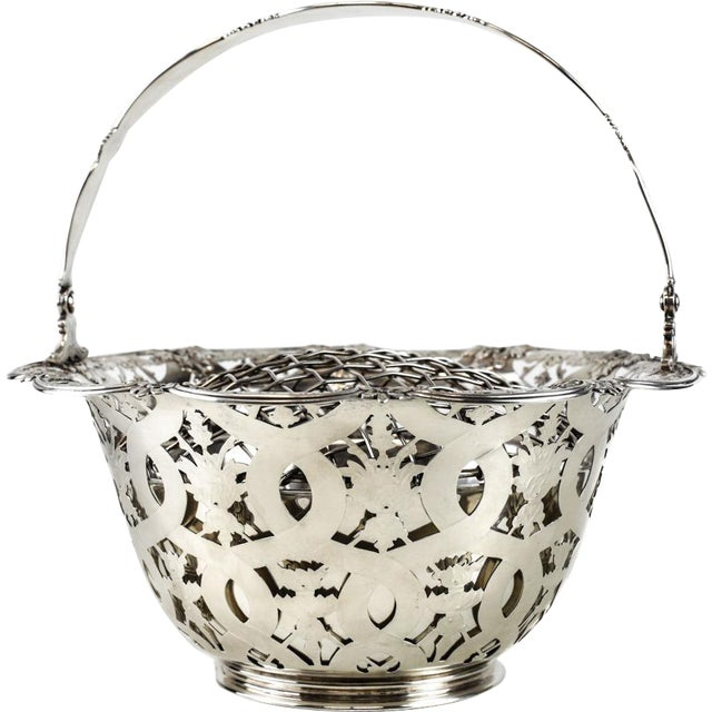 Tiffany & Co Makers sterling silver flower basket #16201, John C. Moore. Beautiful open work hand chased florals...