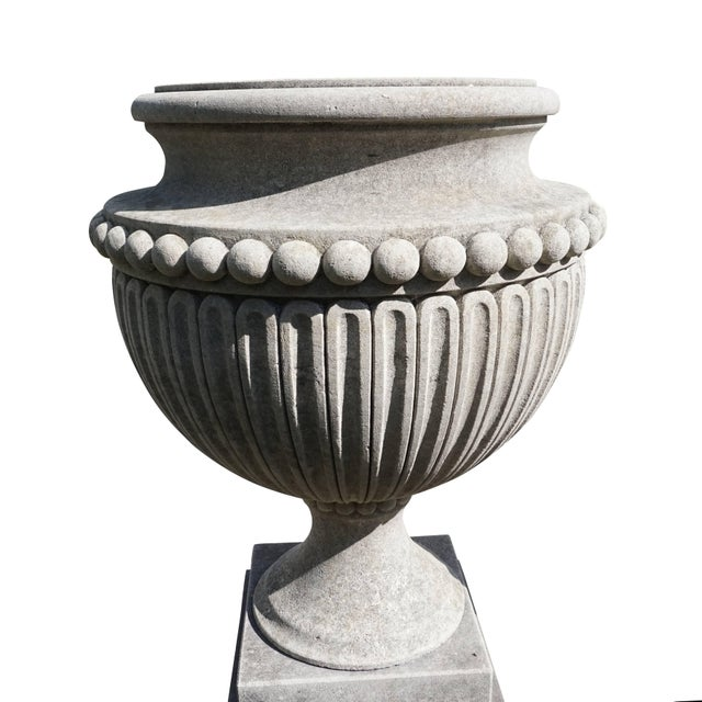 Mid-Century Modern Early 20th Century Italian Garden Limestone Urns - a Pair For Sale - Image 3 of 5