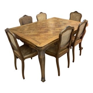 Antique French Country Dining Table and Chairs - 7 Pieces For Sale
