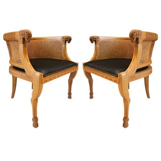 Pair of Neoclassical Style Rams Head Birchwood Bergere Chairs For Sale