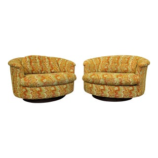 Pair of Mid-Century Danish Modern Groovy Round Selig Swivel Lounge Chairs For Sale