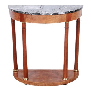 Baker Furniture Burl Wood and Italian Marble Neoclassical Demilune Console Table For Sale