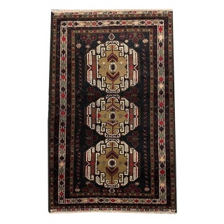 Multicolored Medallion Tribal Hand Knotted Rug- 3′6″ × 6′10″ For Sale