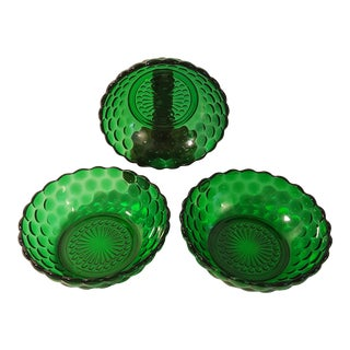 Anchor Hocking Forest Green Bubble Cereal Bowls, Set of 3