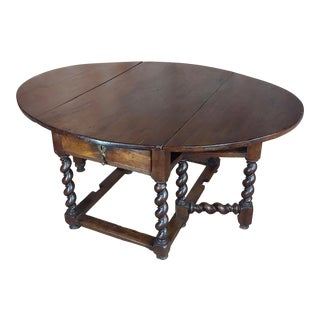 17th Century Walnut Gateleg Drop Leaf Table W/Barley Twist Legs For Sale
