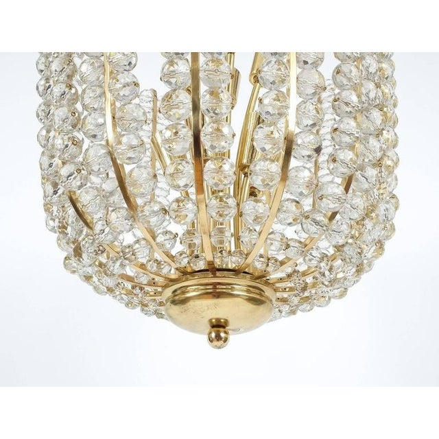 1950s Majestic Basket Crystal and Brass Chandelier Bakalowits, circa 1950 For Sale - Image 5 of 9